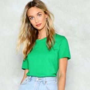 Nasty Gal Basic Green Short Sleeve Tee